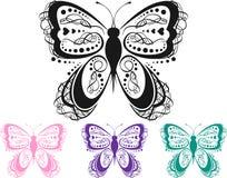 färgrik scroll för fjäril stock illustrationer