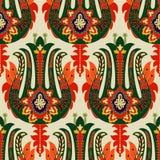 färgrik seamless paisley modell Dekorativ indisk prydnad dekorativ wallpaper royaltyfri illustrationer