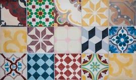 Färgrik set av portugisiska dekorativa tegelplattor Royaltyfri Fotografi