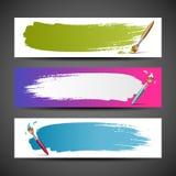 Färgrik set för bakgrund för målarfärgborste stock illustrationer
