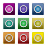 färgrik set för knapp Arkivfoton