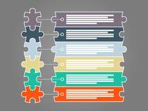Färgrik sex infographic mall för styckpusselpresentation Arkivfoton