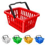 färgrik shopping för korg Royaltyfri Bild
