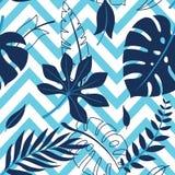 Färgrik sidamodell för tropisk vektor Gömma i handflatan med havet och träbrädet stock illustrationer