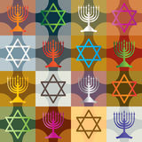 Färgrik Silhouette Hanukkah Seamless Pattern_eps Arkivbilder