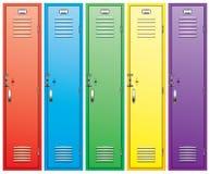 färgrik skåpskola royaltyfri illustrationer