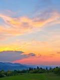 Färgrik sky efter solnedgång Royaltyfri Bild