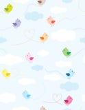 färgrik sky för fåglar stock illustrationer