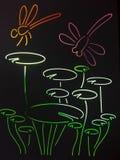 Färgrik slända från målat glass royaltyfri illustrationer