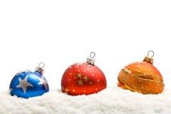 färgrik snow för baublesjul Royaltyfria Bilder