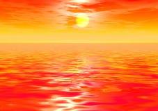 Färgrik solnedgång över havet Royaltyfria Foton
