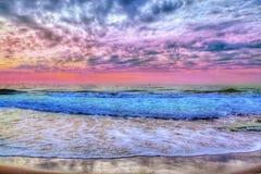 Färgrik solnedgång över havet i Spanien, Tenerife royaltyfri bild