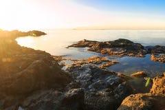 Färgrik solnedgång över medelhavet Royaltyfria Bilder