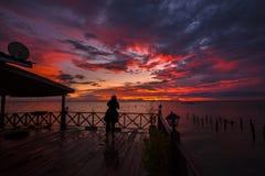 färgrik solnedgång Arkivbild