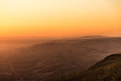 färgrik solnedgång Arkivfoto