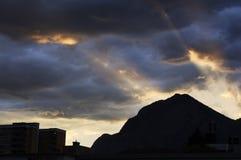 färgrik solnedgång Arkivbilder