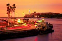Färgrik solnedgång i Havana Royaltyfria Bilder