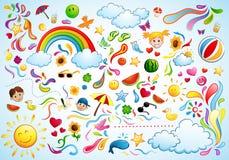 färgrik sommar royaltyfri illustrationer