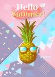 Färgrik sommar BG med utsmyckat ananas- och geometrisymbol Royaltyfri Fotografi