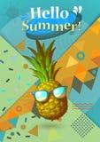 Färgrik sommar BG med utsmyckat ananas- och geometrisymbol Royaltyfria Bilder