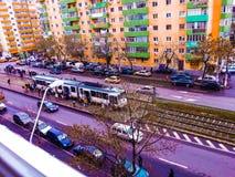 Färgrik spårvagnstation, Bucharest Royaltyfria Foton