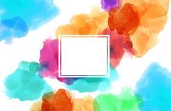 Färgrik sp för kopia för fyrkant för akvarellillustrationmålning vektor illustrationer