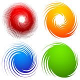 Färgrik spiraluppsättning Abstrakt virvel, piruettdesignbeståndsdelar med royaltyfri illustrationer