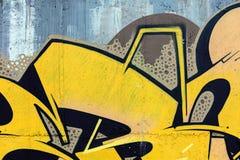 Färgrik sprej målade grafitti på väggen modern gatacul Arkivbilder