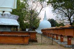 Färgrik srilankesisk tempel med Stupa, sen eftermiddag Royaltyfri Foto