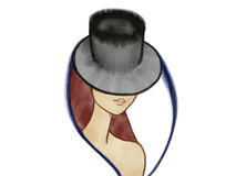 Färgrik stående av en mystisk dam i hatt Royaltyfria Bilder