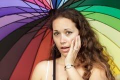 färgrik ståendekvinna Arkivfoto