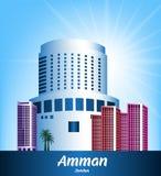 Färgrik stad av Amman Jordan Famous Buildings Royaltyfri Fotografi