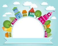 Färgrik stad och baner royaltyfri illustrationer