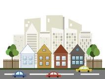 Färgrik stad, till salu/hyra hus för delshus för gods försäljning för hyra verklig vektor illustrationer