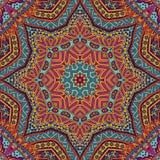 Färgrik stam- Sun Mandala Ethnic Festive Abstract Floral vektormodell stock illustrationer