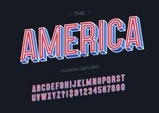 Färgrik stil för vektorAmerika alfabet 3d för garnering stock illustrationer