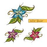 Färgrik stiliserad blomma för garnering Fotografering för Bildbyråer