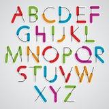 Färgrik stilsort för skraj konstruktiv vektor, tecknad film rundade bokstäver royaltyfri illustrationer