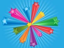 färgrik stjärna för bakgrund stock illustrationer