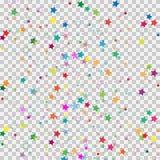 Färgrik stjärna som isoleras på genomskinlig bakgrund Konfettiberöm Fallande stjärnor gör sammandrag garnering för partiet, födel Arkivfoton