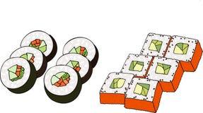 färgrik sushiuppsättning Rasterillustration på vit bakgrund Arkivbild