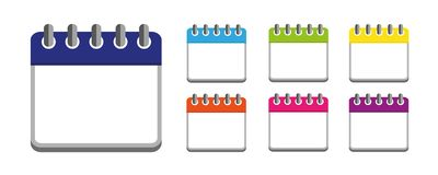 Färgrik symbol för kalenderuppsättningaffär stock illustrationer