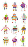 färgrik symbolsrobot för tecknad film vektor illustrationer