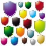färgrik symbolssköld för samling Royaltyfri Bild