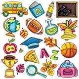 färgrik symbolsskola royaltyfri illustrationer