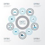 Färgrik symbolsuppsättning för bil Samling av batteri, kugghjulspak, Cabriolet och andra beståndsdelar Inkluderar också symboler stock illustrationer