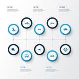 Färgrik symbolsuppsättning för bil Samling av skåpbil, Cabriolet, sportbil och andra beståndsdelar Inkluderar också symboler såda vektor illustrationer