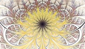 Färgrik symmetrisk fractalblomma Digital konstverk för idérik grafisk design yellow för modell för hjärta för blommor för fjärils royaltyfri illustrationer