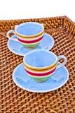 Färgrik tea kuper Arkivbild