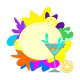 Färgrik teckenaffischtavla för stång med ett martini exponeringsglas royaltyfri illustrationer